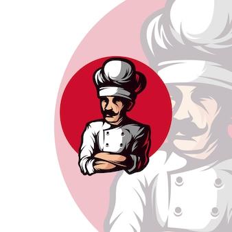 Master chef mascot logo modello
