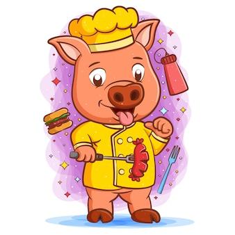 Il maialino chef con la faccia felice che tiene salsicce intorno a gustosi hamburger