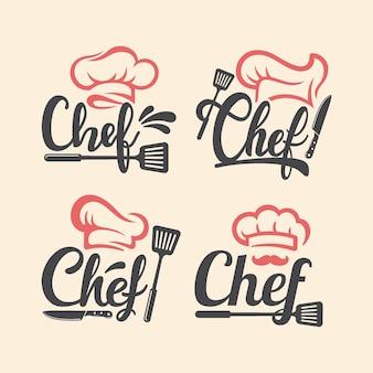 Insieme di marchio del ristorante chef maestro