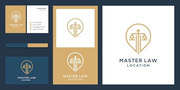 Posizione di legge master con logo design ispirazione logo design e biglietto da visita