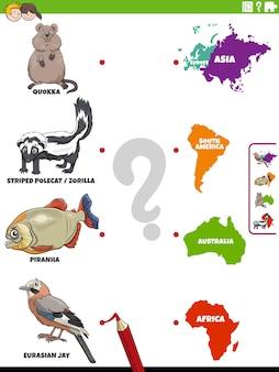 Abbina le specie animali e l'attività educativa dei continenti