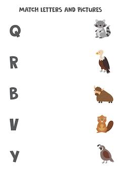 Abbina gli animali alle lettere dell'alfabeto inglese. gioco educativo per bambini. foglio di lavoro per l'ortografia.