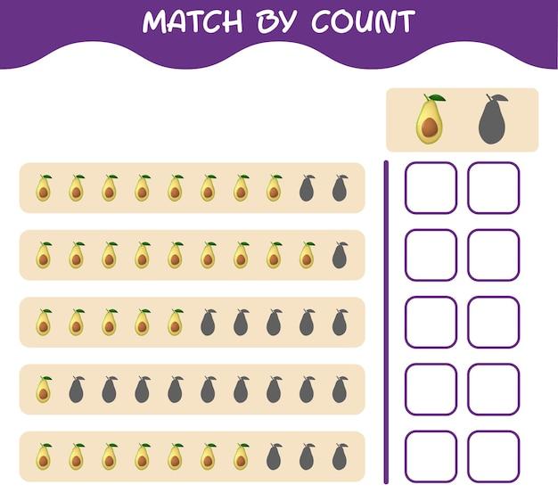 Corrispondenza per conteggio dell'avocado cartone animato. abbina e conta il gioco. gioco educativo per bambini e bambini in età prescolare