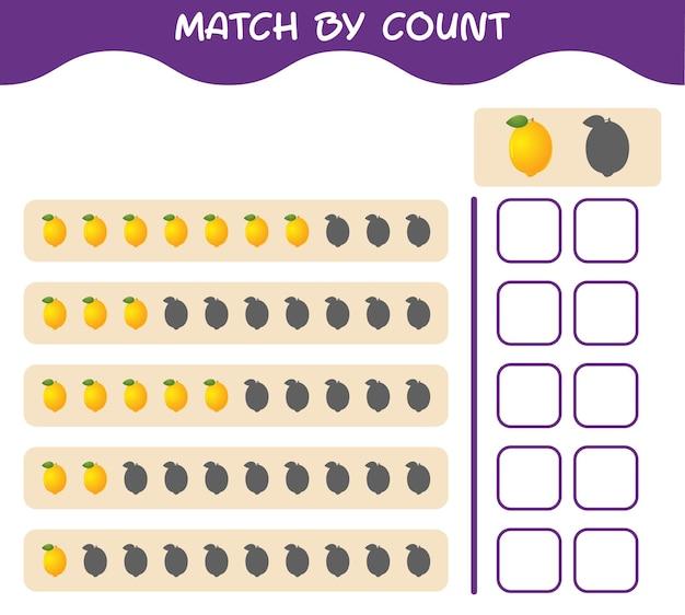 Corrispondenza per conteggio del limone dei cartoni animati. abbina e conta il gioco. gioco educativo per bambini e bambini in età prescolare