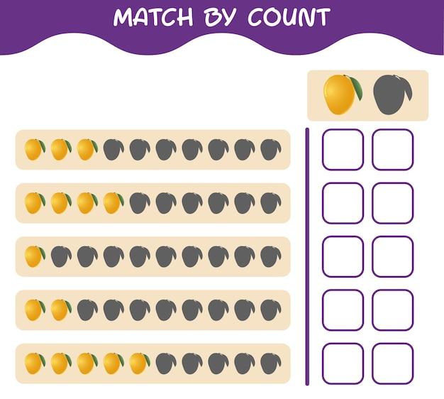 Corrispondenza per conteggio del mango dei cartoni animati. abbina e conta il gioco. gioco educativo per bambini e bambini in età prescolare