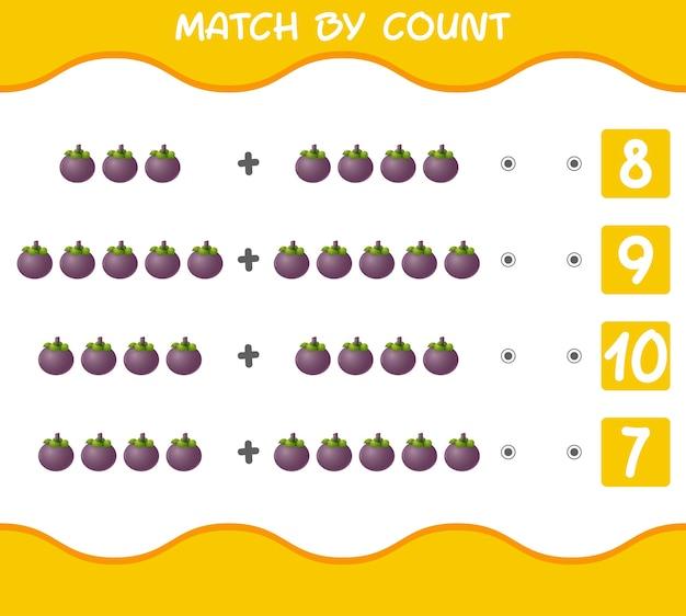 Partita per conteggio dei mangostani dei cartoni animati gioco educativo