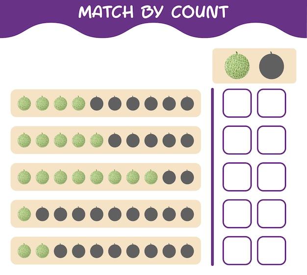 Corrispondenza per conteggio del melone dei cartoni animati. abbina e conta il gioco. gioco educativo per bambini e bambini in età prescolare