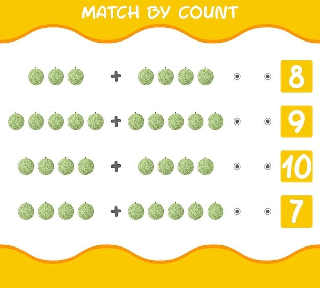 Partita per conteggio dei meloni dei cartoni animati. abbina e conta il gioco. gioco educativo per bambini e bambini in età prescolare