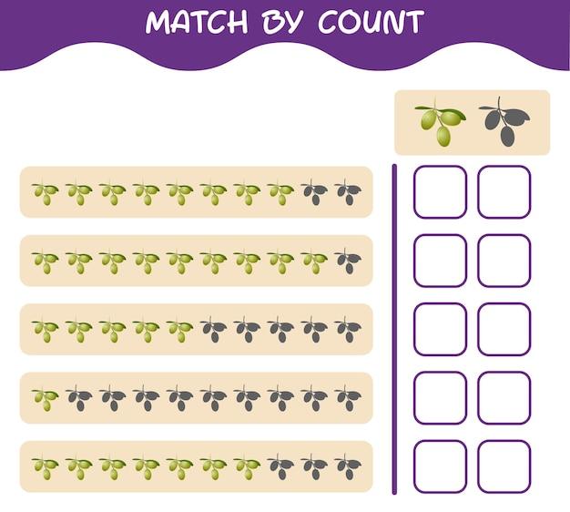 Corrispondenza per conteggio dell'oliva dei cartoni animati. abbina e conta il gioco. gioco educativo per bambini e bambini in età prescolare