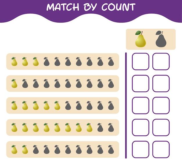 Corrispondenza per conteggio della pera dei cartoni animati. abbina e conta il gioco. gioco educativo per bambini e bambini in età prescolare