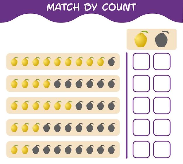 Partita per conteggio della mela cotogna dei cartoni animati abbina e conta il gioco. gioco educativo per bambini e bambini in età prescolare