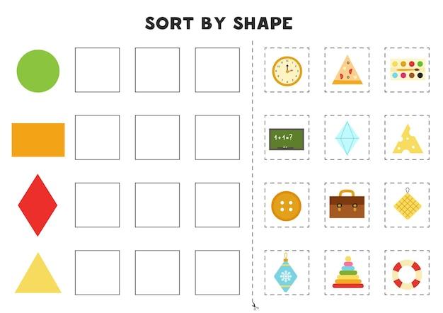 Abbina per forme. imparare le forme geometriche di base. foglio di lavoro stampabile per la scuola materna.