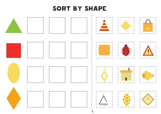 Abbina per forme. imparare le forme geometriche di base. foglio di lavoro stampabile per la scuola materna. Vettore Premium