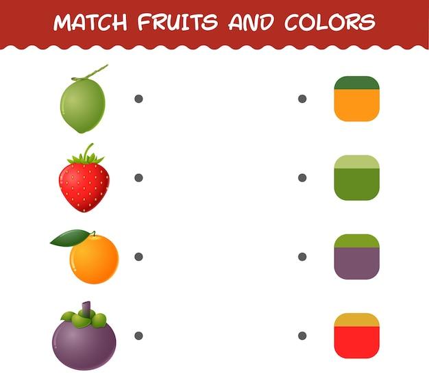 Abbina frutta e colori dei cartoni animati. gioco di abbinamento. gioco educativo per bambini e bambini in età prescolare
