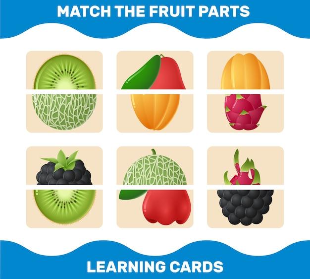 Abbina le parti dei frutti dei cartoni animati. gioco di abbinamento. gioco educativo per bambini e bambini in età prescolare