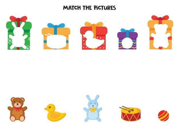 Abbina giocattoli per bambini e scatole regalo.