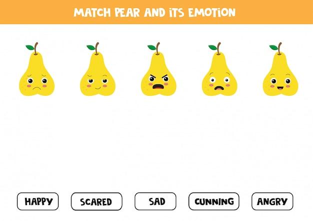 Abbina la pera di cartone animato e la sua emozione. gioco educativo per bambini.