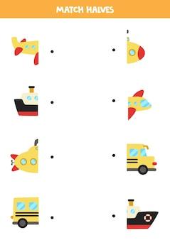 Abbina le metà dei mezzi di trasporto dei cartoni animati. gioco di logica per bambini.