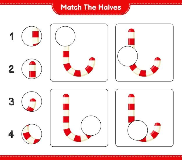 Abbina le metà. abbina le metà dei bastoncini di zucchero. gioco educativo per bambini