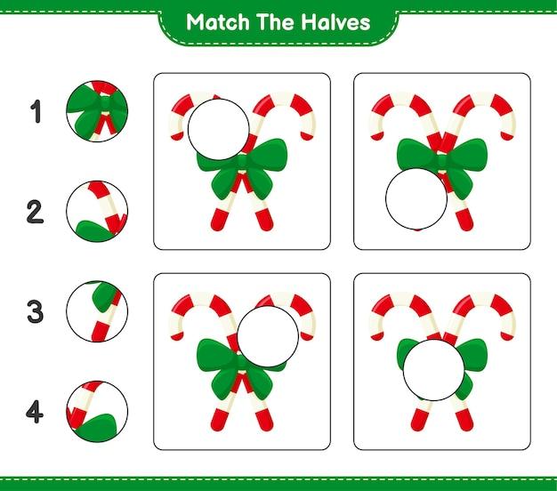 Abbina le metà. abbina le metà dei bastoncini di zucchero con il nastro. gioco educativo per bambini