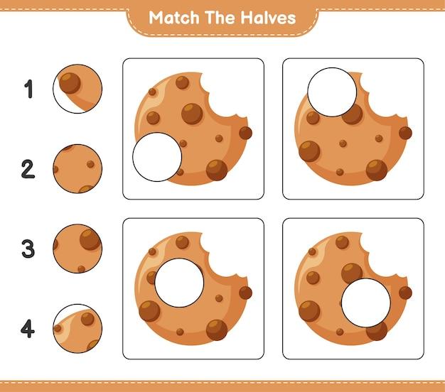 Abbina le metà. abbina le metà dei cookie. gioco educativo per bambini