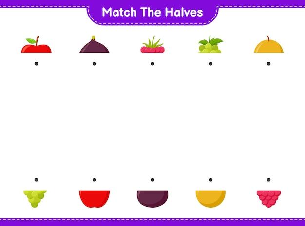 Abbina le metà. abbina le metà dei frutti. gioco educativo per bambini, foglio di lavoro stampabile