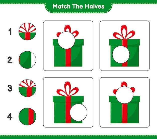 Abbina le metà. abbina le metà delle scatole regalo. gioco educativo per bambini