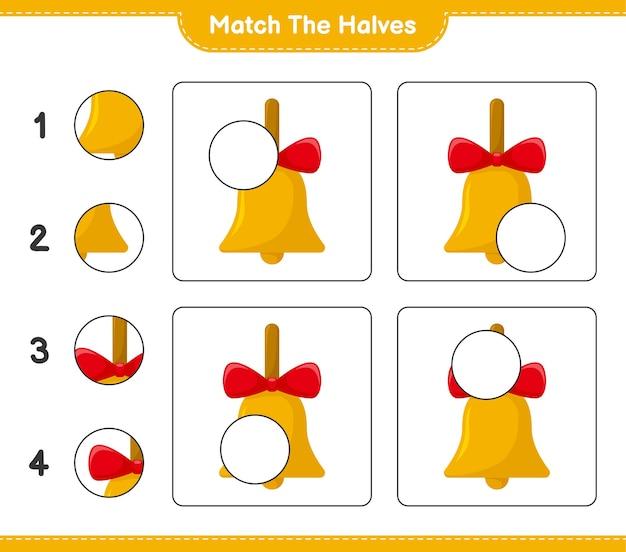 Abbina le metà. abbina le metà delle campane di natale dorate. gioco educativo per bambini