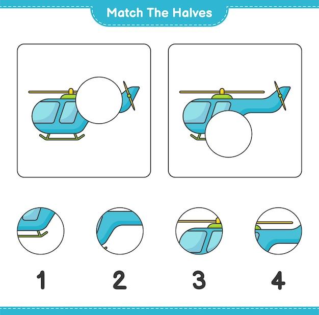 Abbina le metà abbina le metà del foglio di lavoro stampabile del gioco educativo per bambini in elicottero