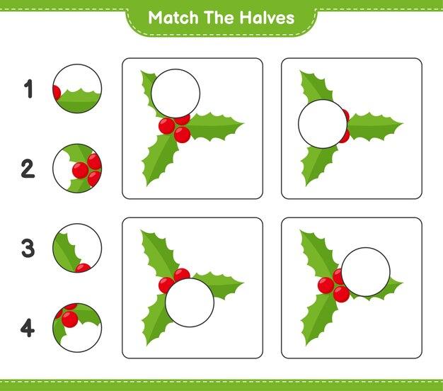 Abbina le metà. abbina le metà di holly berries. gioco educativo per bambini