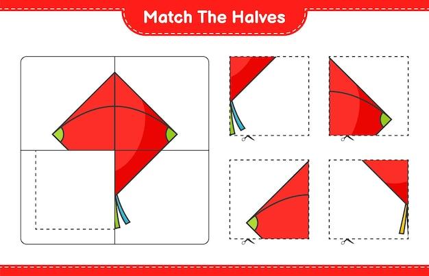 Abbina le metà abbina le metà del foglio di lavoro stampabile del gioco educativo per bambini kite
