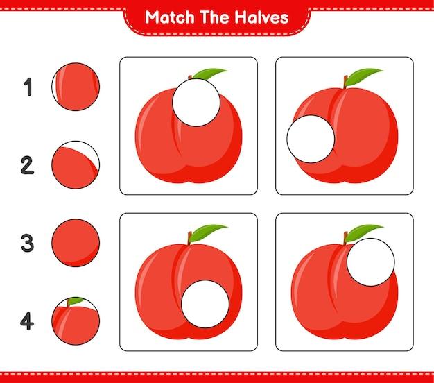 Abbina le metà. abbina le metà di pesche noci. gioco educativo per bambini, foglio di lavoro stampabile