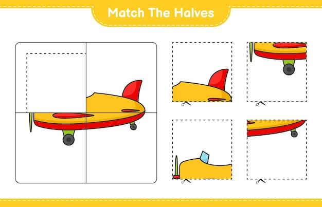 Abbina le metà abbina le metà del foglio di lavoro stampabile del gioco educativo per bambini aereo