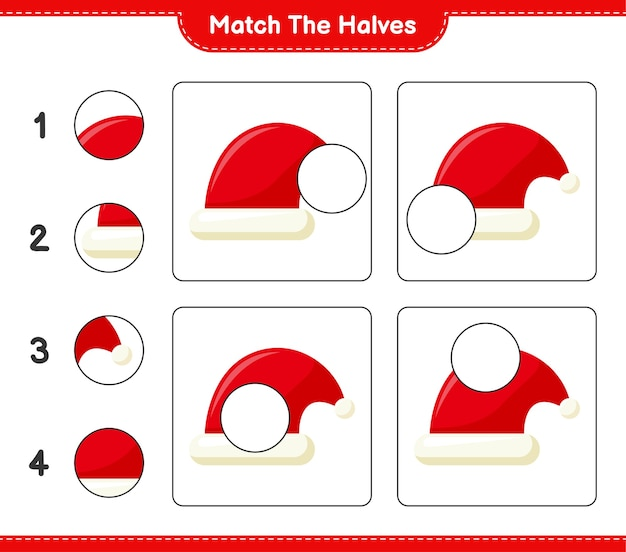 Abbina le metà. abbina le metà di cappello da babbo natale. gioco educativo per bambini