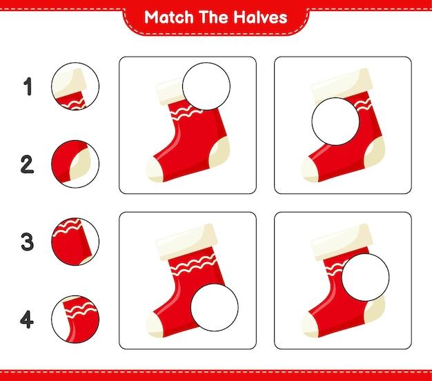 Abbina le metà. abbina le metà dei calzini. gioco educativo per bambini