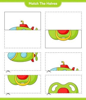 Abbina le metà abbina le metà del gioco educativo per bambini sottomarino e ciuccio