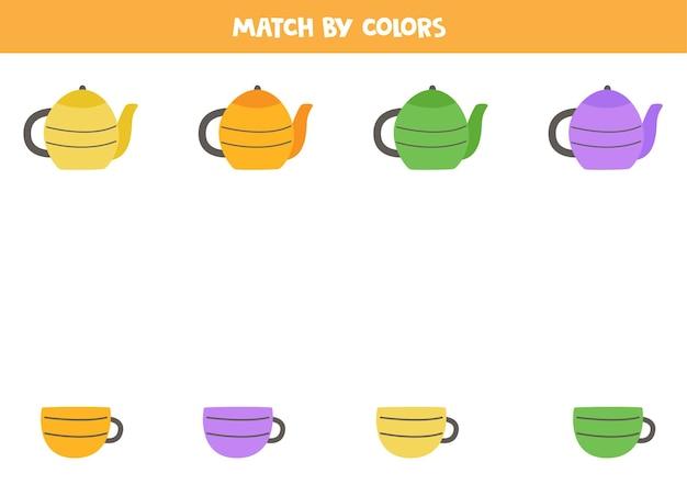 Abbina teiera da cucina e tazze da tè in base ai colori. gioco logico educativo per bambini. Vettore Premium