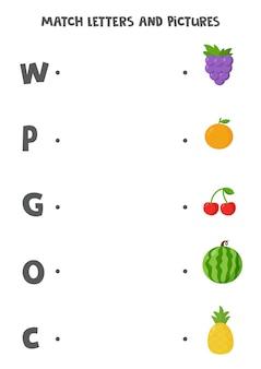 Abbina lettere e immagini. gioco logico educativo per bambini. foglio di lavoro per l'apprendimento dell'alfabeto per bambini in età prescolare. frutta simpatico cartone animato.