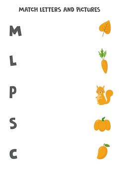 Abbina le lettere alle immagini. inizio gioco di suoni per bambini.