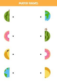 Abbina parti di oggetti circolari. gioco logico per bambini.