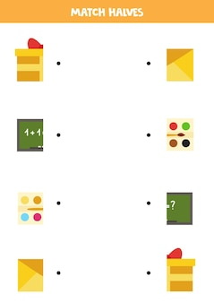 Abbina parti di oggetti rettangolari. gioco logico per bambini.