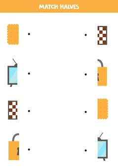 Abbina parti di oggetti quadrati. gioco logico per bambini.