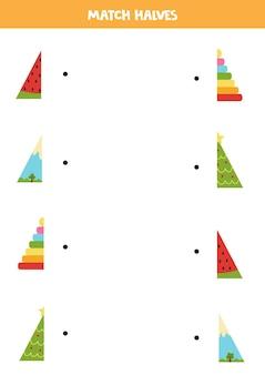 Abbina parti di oggetti triangolari. gioco logico per bambini.