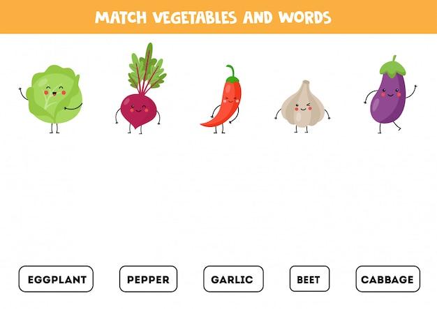 Abbina le immagini di simpatiche verdure kawaii con le parole.