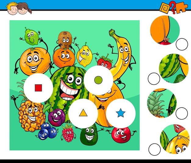 Abbinare pezzi puzzle con personaggi di frutta