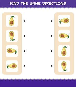 Abbina le stesse direzioni dell'avocado. gioco di abbinamento. gioco educativo per bambini e ragazzi in età prescolare