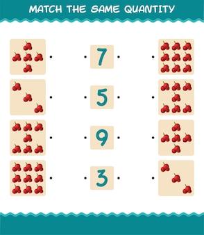 Abbina la stessa quantità di mirtillo rosso. conteggio del gioco. gioco educativo per bambini e bambini in età prescolare