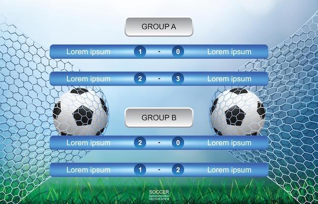 Sfondo del programma delle partite per la coppa del calcio di calcio con campo in erba verde e sfondo bokeh sfocato chiaro. calendario del torneo di calcio. illustrazione vettoriale.