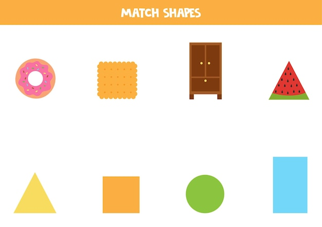 Abbina le forme. gioco educativo per l'apprendimento delle forme geometriche di base.