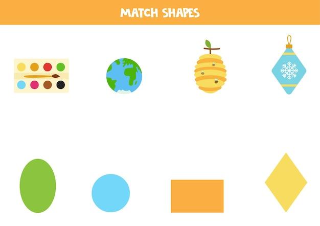 Abbina le forme. gioco educativo per l'apprendimento delle forme geometriche di base. Vettore Premium